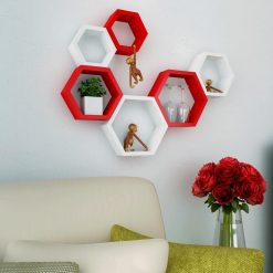 red white decorative wall shelves