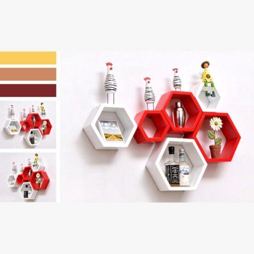 red white set of 6 hexagon floating wall shelves