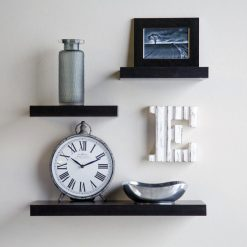 set 3 small medium wall shelves for home decor black
