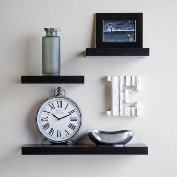 set 3 small medium wall shelves for home decor black
