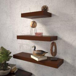 set of 3 mounted wall racks for wall decor