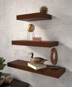 set of 3 mounted wall racks for wall decor