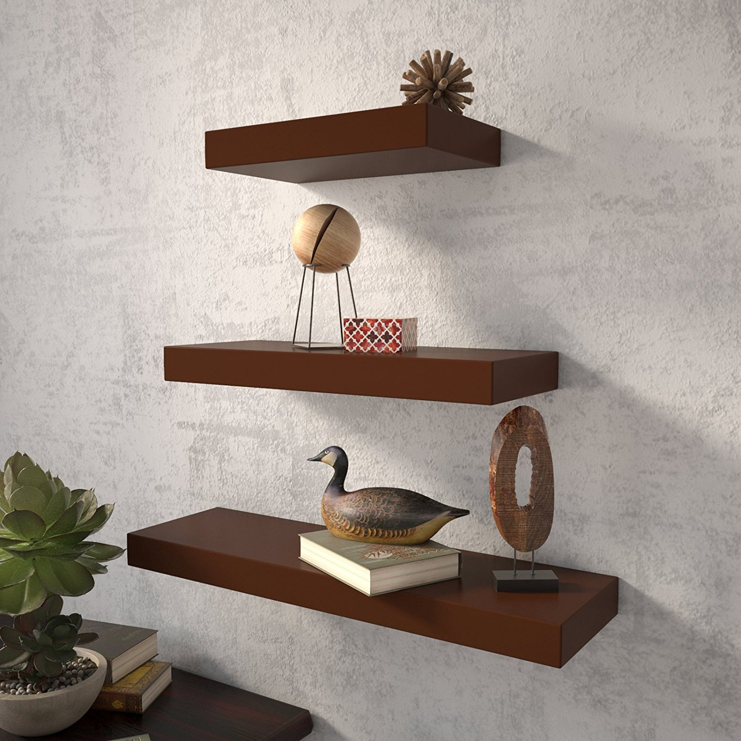Wall decor wall shelf set of 3 floating shelves organizer for Decor nation