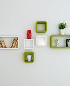 set of 6 cube rectangle green-white wall racks for home decor
