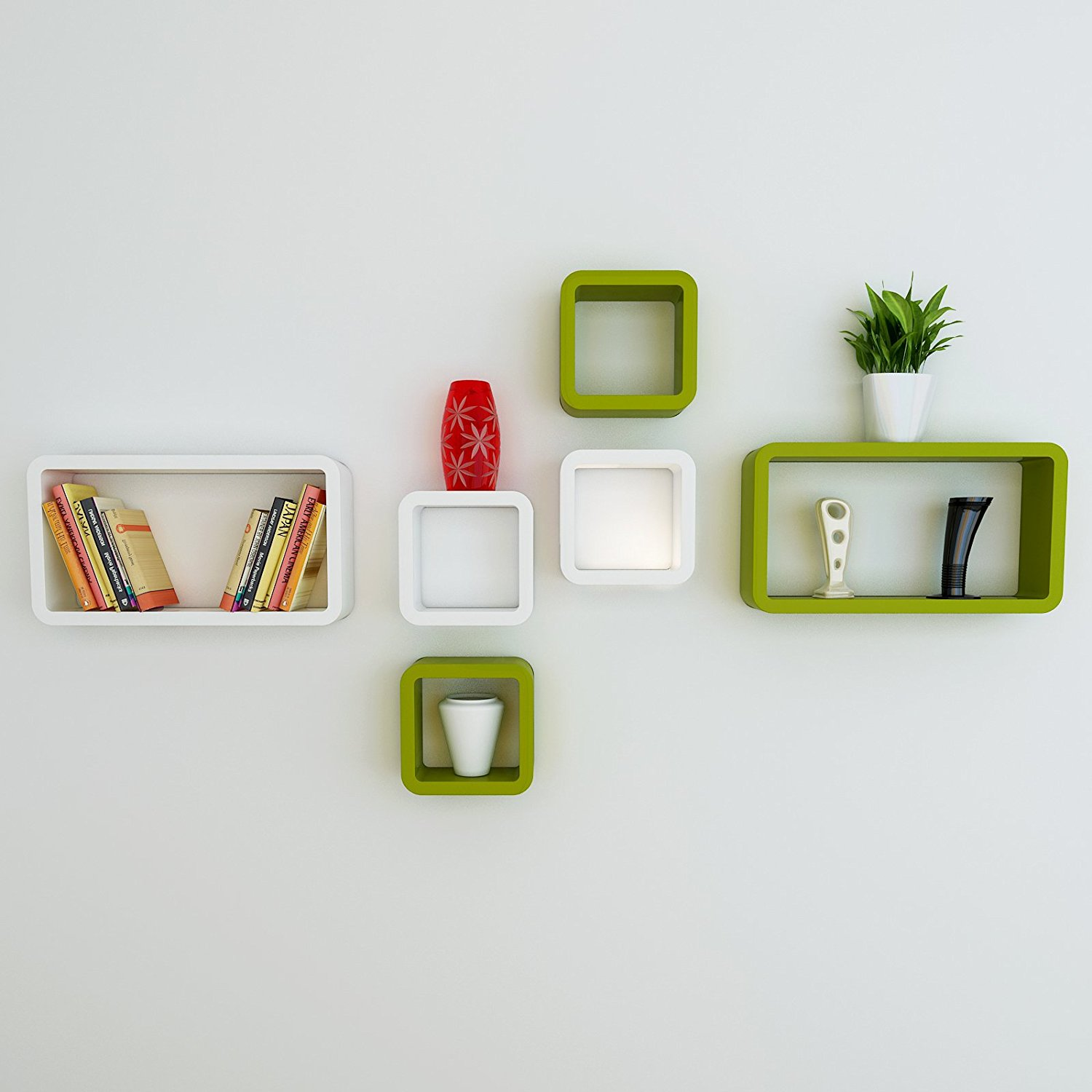 set of 6 cube rectangle green-white wall racks for home decor