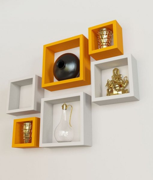 set of 6 decorative square wall racks for storage