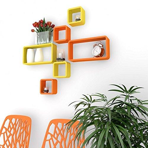 set of 6 decornation wall shelves orange yellow