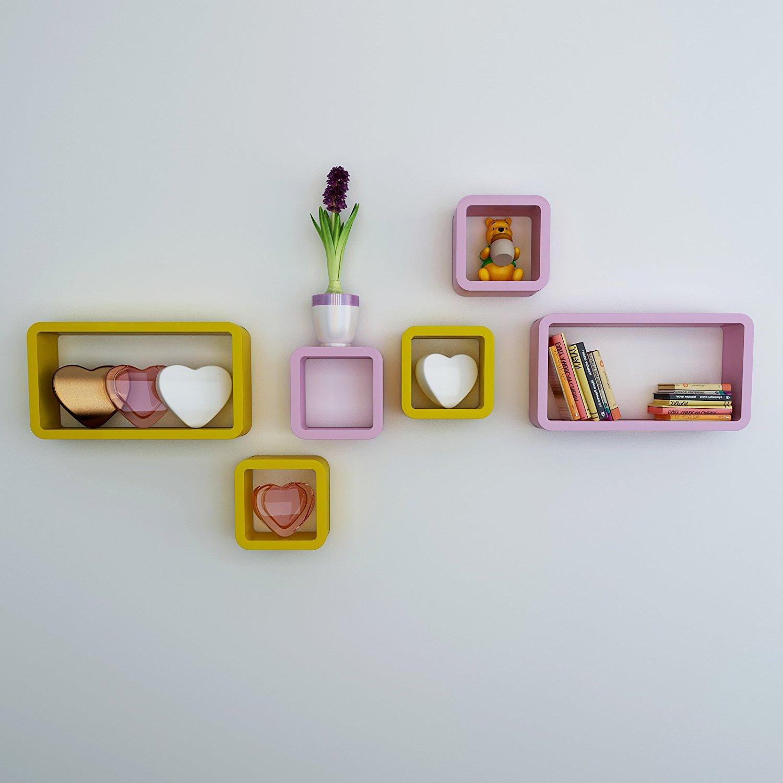 set of 6 living room wall shelves pink yellow