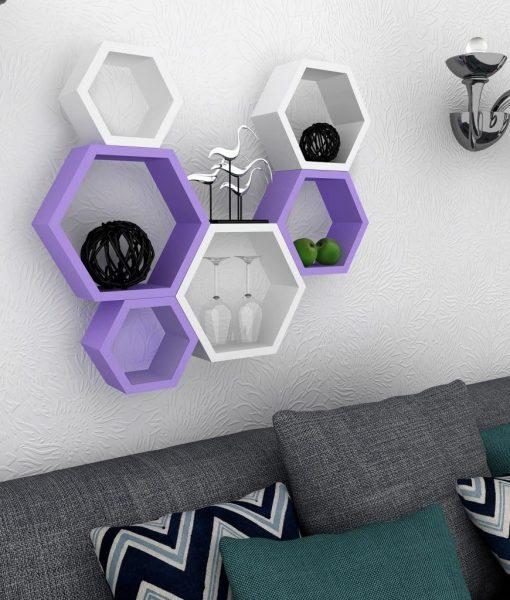 set of 6 purple white floating wall racks for home decor