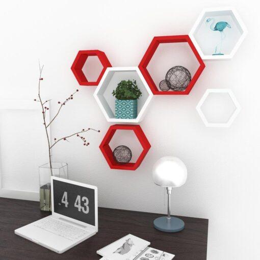 set of 6 red white decorative wall shelf