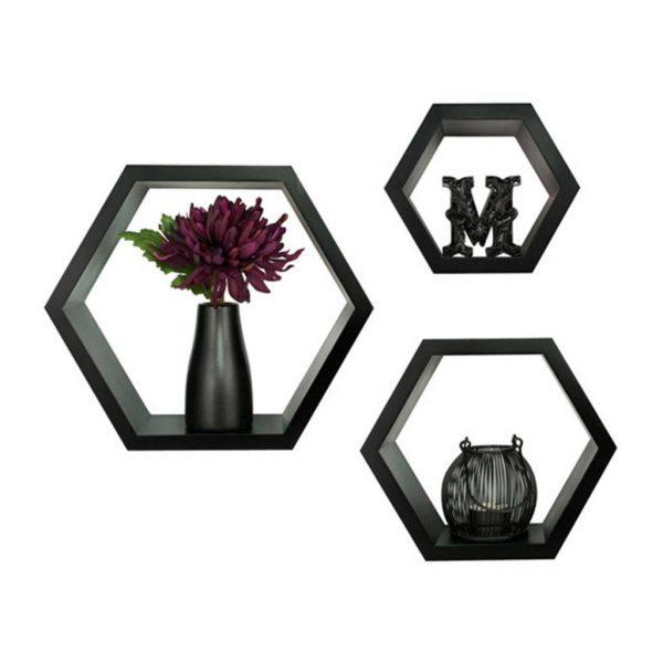 set of hexagon wallshevles black