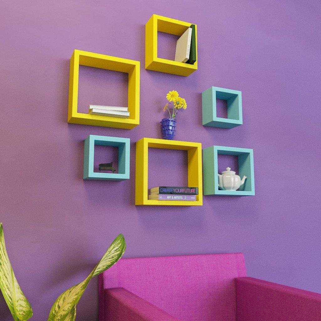 skyblue yellow wall shelves for home decor