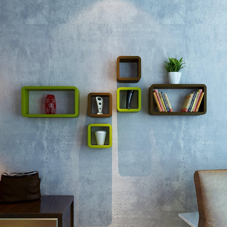 wall deccor wall racks cube rectangle green brown