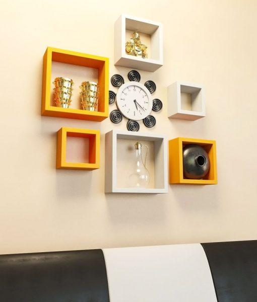 wall decor shelves orange white for home decor