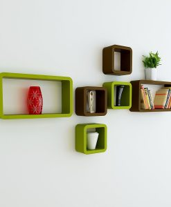 wall furniture shelves cube rectangle green brown