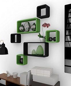wall shelf art cube rectangle wall racks green black