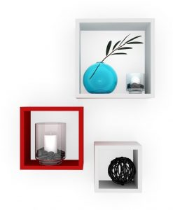 white red cube shelves for wall decor