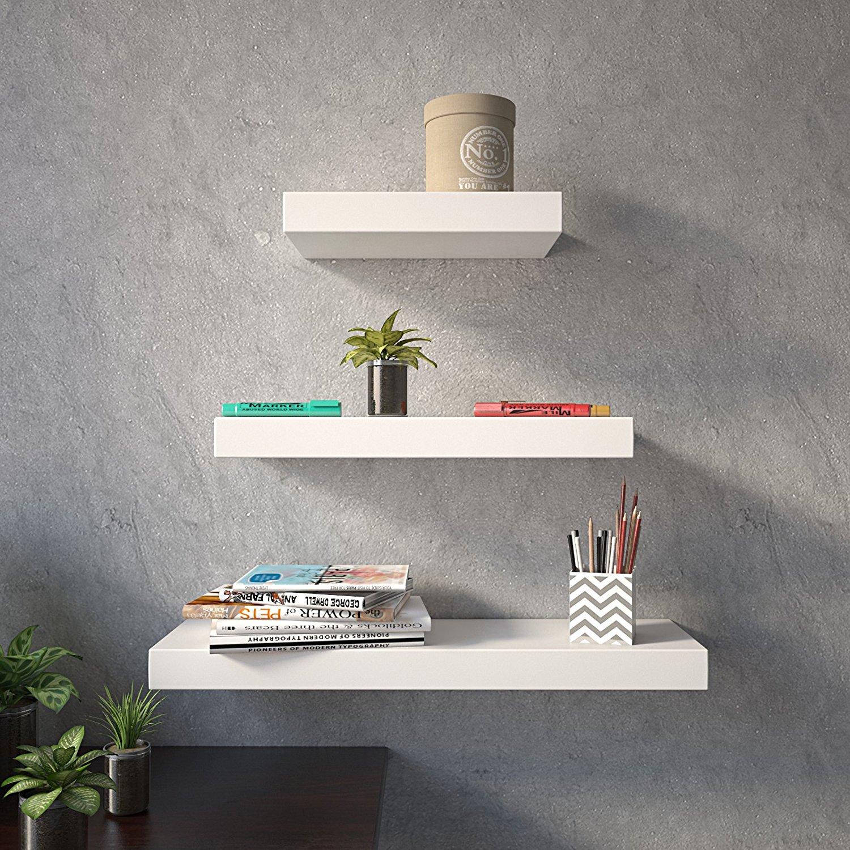 wall decor wall shelf set of 3 floating shelves organizer. Black Bedroom Furniture Sets. Home Design Ideas