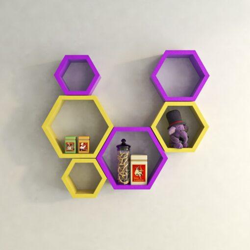 yellow purple set of 6 nesting wall shelves