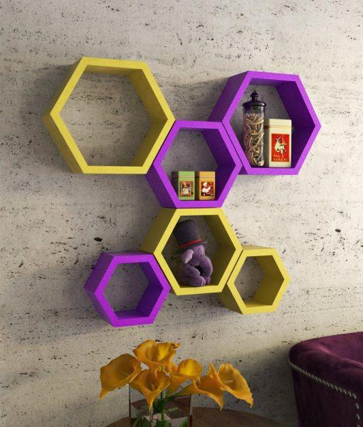 yellow purple wall mounted storage wall shelves