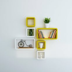 yellow white cube rectangle wall shelves for home decor