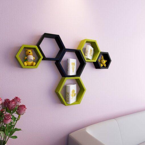 buy decornation green black hexagon wall brackets