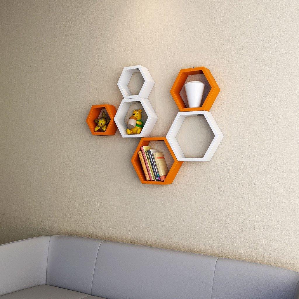 buy decornation orange white wall racks online