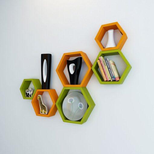 buy decornation orange green wall shelves