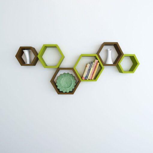 buy green brown hexagon shelves online india
