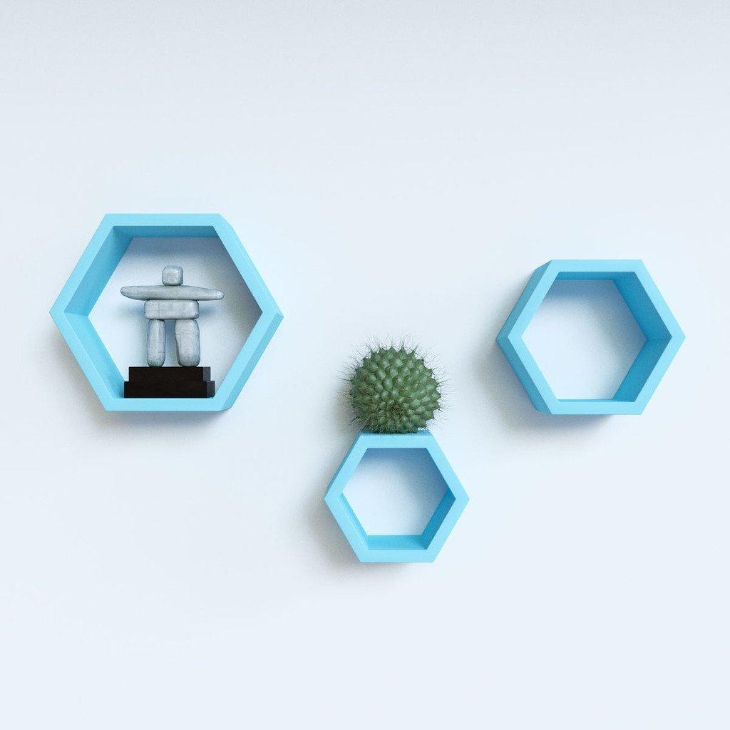 buy set of 3 hexagon wall shelves online india