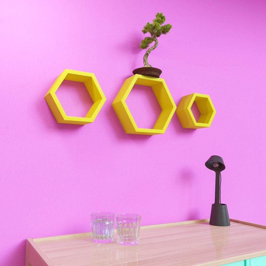 contemporary yellow hexagon wall shelves