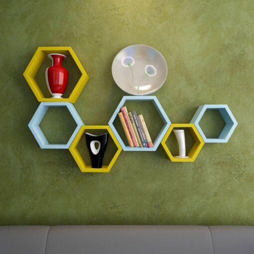 decorative set of 6 yellow skyblue wall shelf bracket