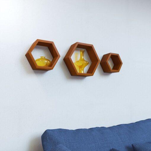 decornation brown hexagon wall racks set of 3