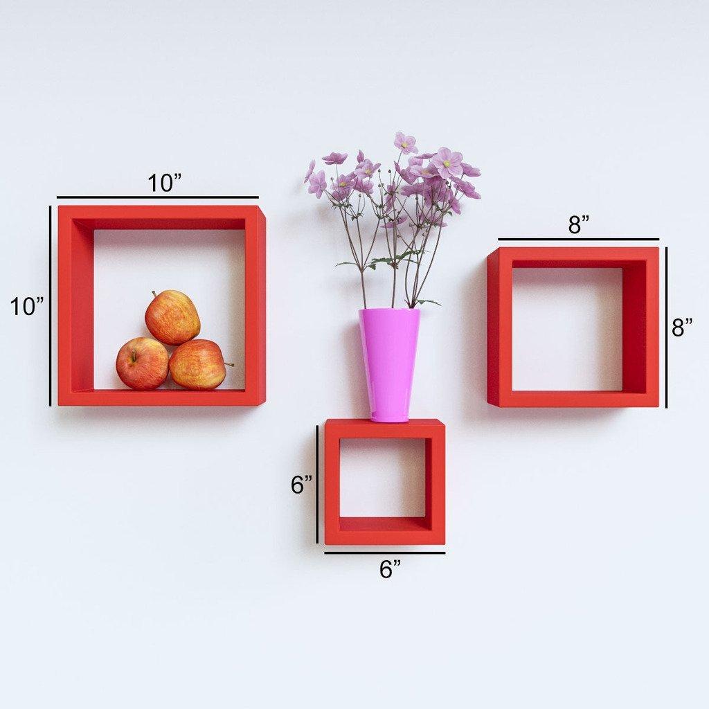 decornation designer wall shelves square shape red color