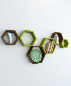 decornation green brown hexagon wall shelves for sale