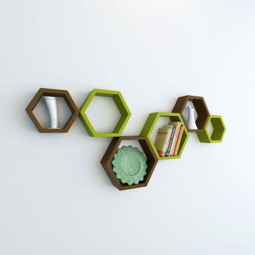decornation green brown hexagon wall shelves for sale