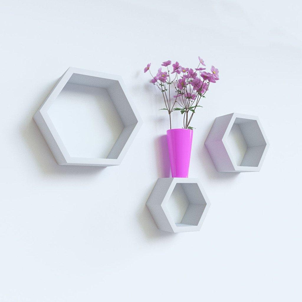 decornation white hexagon wall shelves for sale