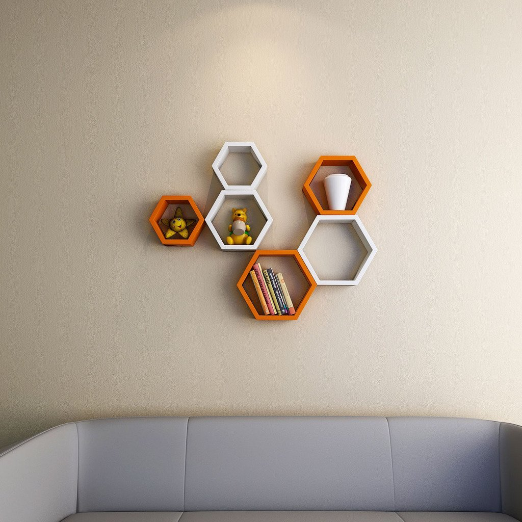 designer hexagon orange white wall shelf brackets