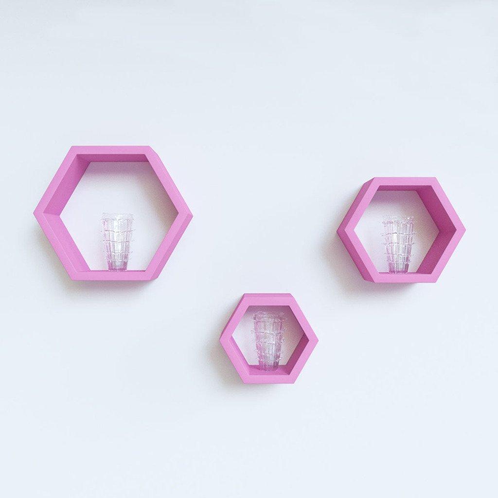 designer hexagone wall shelves pink for home decor