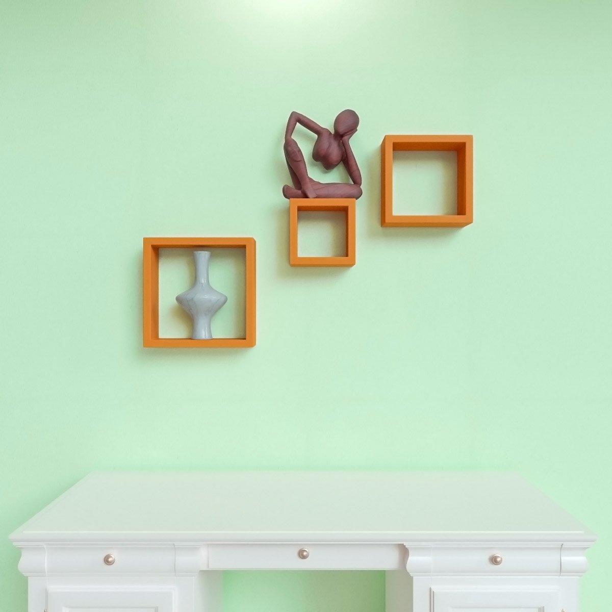 designer square wall shelves orange color online india