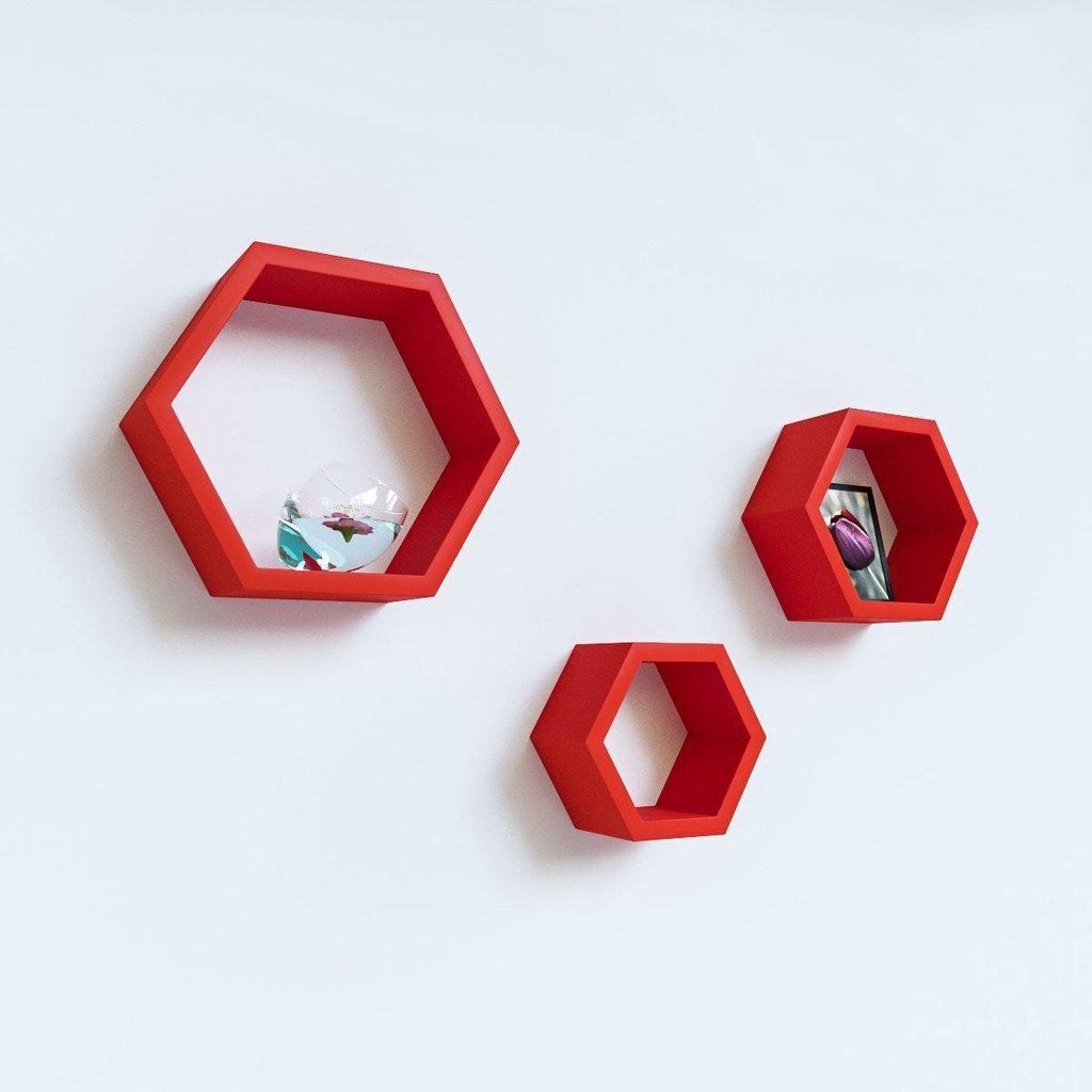 designer wall shelves red for home decor