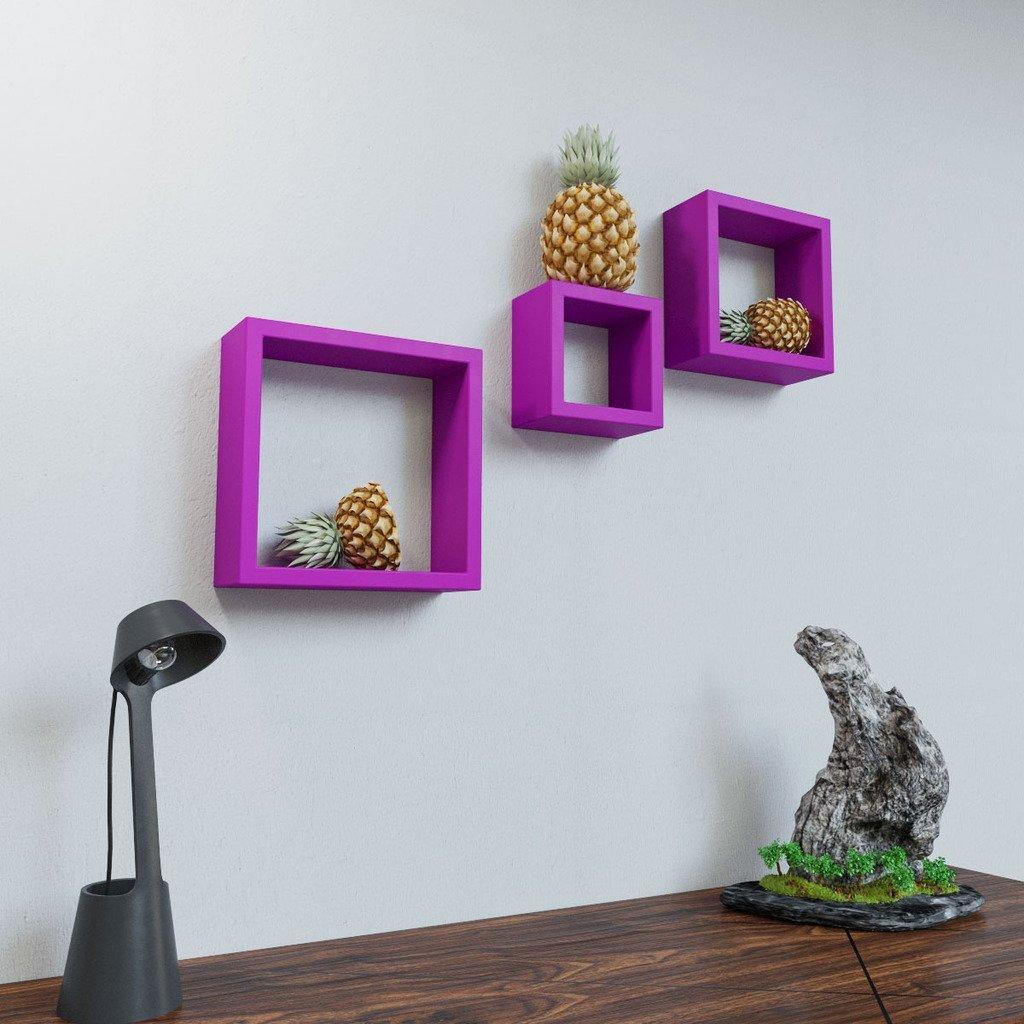 Home Decor Nation: Set Of 3 Nesting Square Wall Shelf By DecorNation
