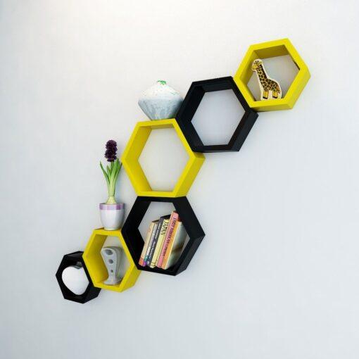designer yellow black wall shelves for sale