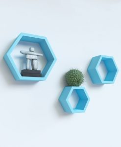 floating hexagon wall shelves skyblue for sale