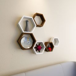 floating hexagon white brown shelves