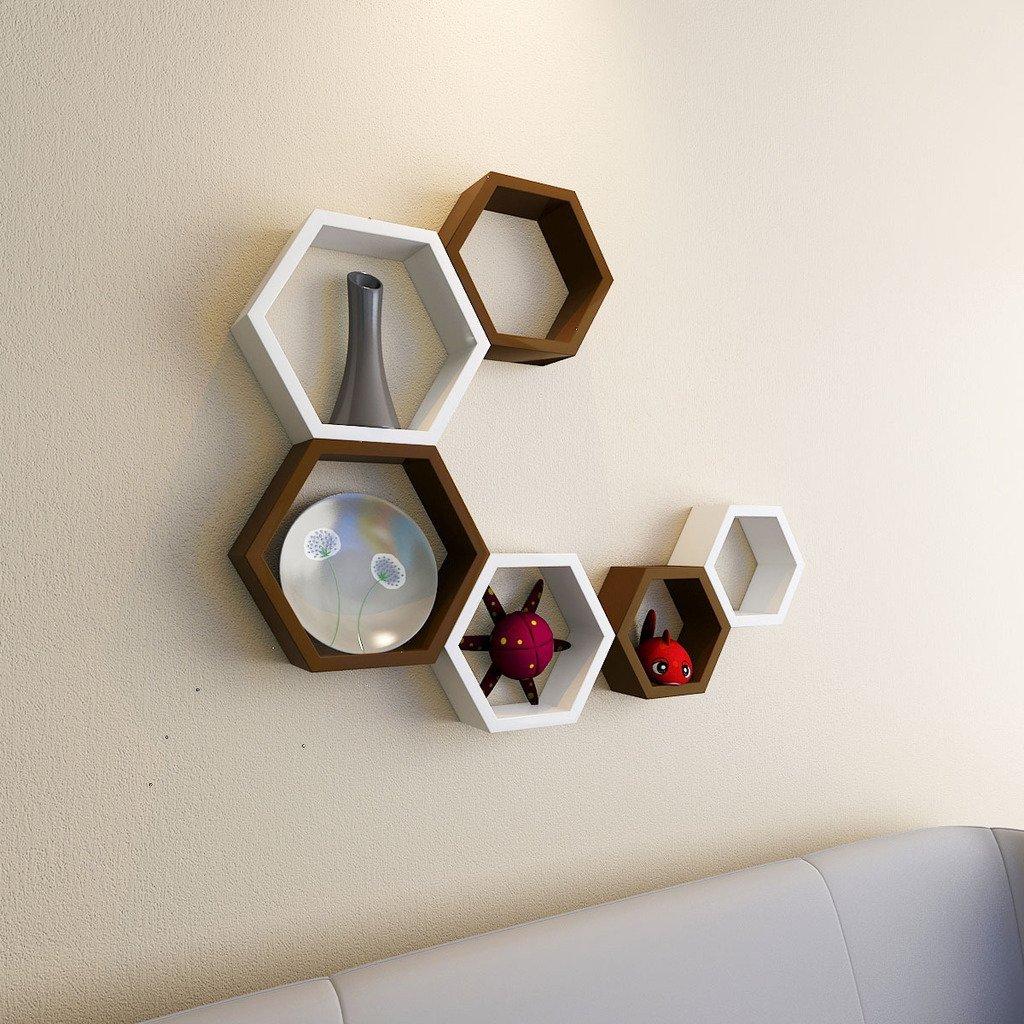 floating hexagon white brown shelves
