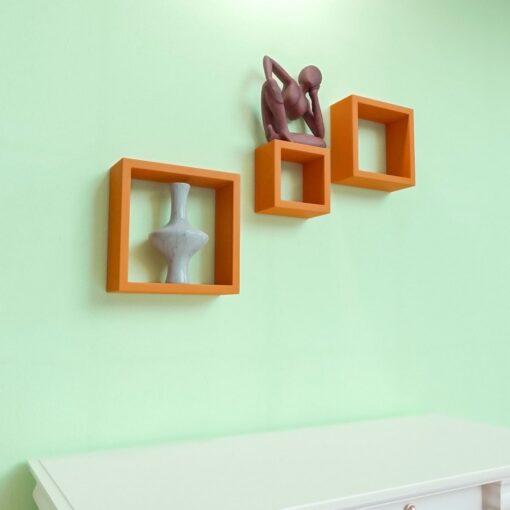 floating wall mounted orange wall shelves