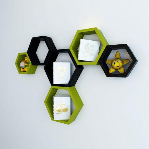green black floating hexagon wall shelves