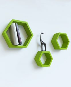 green hexagon wall racks for storage
