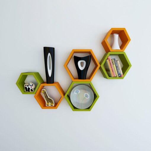 hexagon shape wall shelves for wall decor